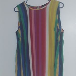 CYNTHIA ROWLEY Sleeveless Rainbow Stripes Blouse